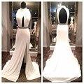 Simples 2016 Vestidos de Baile Branco Sexy Vestidos De Noche Keyhole Backless Side Slit Vestidos De Fiesta Vestes De Sarau