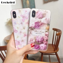 Ueokeird Very Beautiful For Apple iphne X Case Flower 3D Pattern For Apple iphne 8  Case Soft TPU 8 Plus Mobile Phone Cover