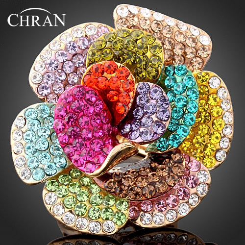 CHRAN Unique Gold Color Brand Crytal Rings Jewelry Accessories Wholesale Luxury Zircon Flower Engagement Rings for Women