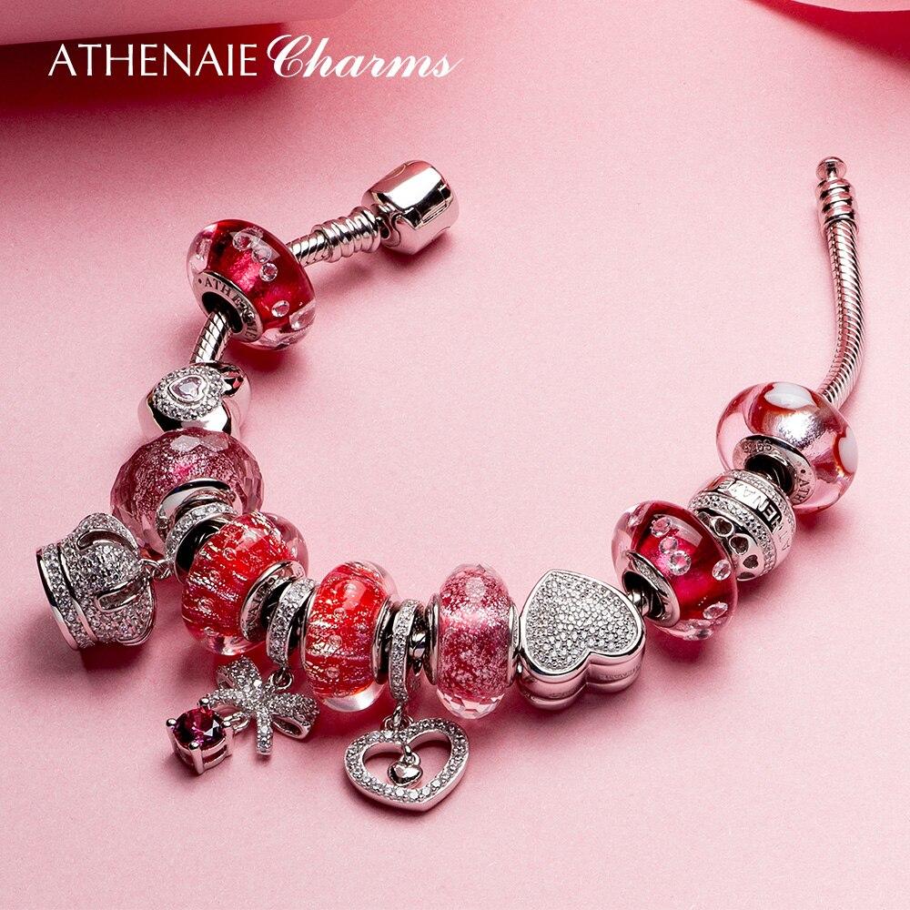 ATHENAIE 925 Argento Rosa Cuore Rosso Corona Branello Del Braccialetto di Fascino Per Le Donne Originale Dei Monili del Regalo Per La Festa della Mamma