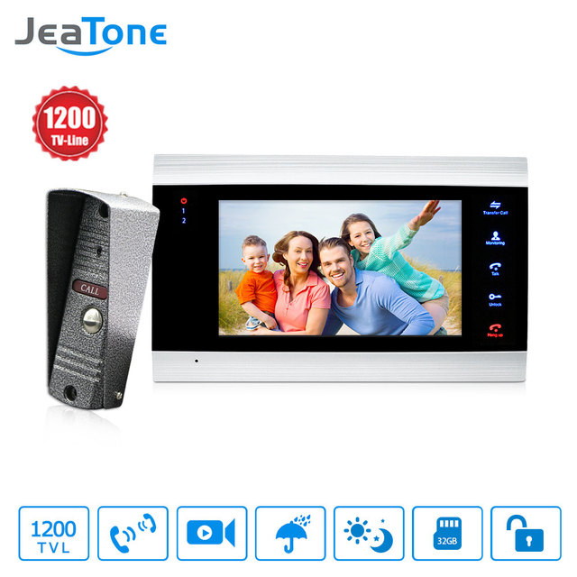 JeaTone New 7 Inch Video Doorbell Monitor Intercom With 1200TVL Outdoor Camera IP65 Door Phone System
