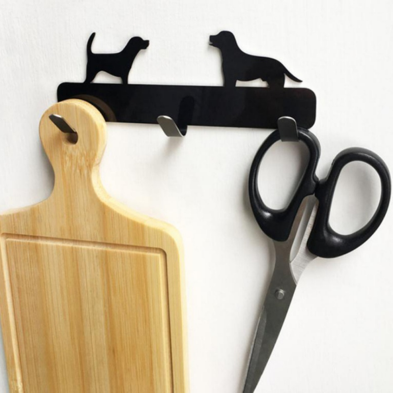 Dog Shaped Stainless Steel Wall 3 Hooks Bathroom Punching-free Clothes Hanger Back Door Hanging Peg For Towel