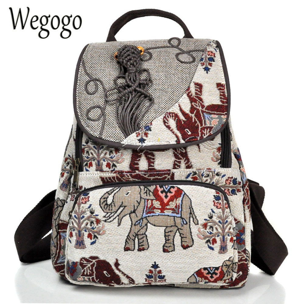 Thail Boho Women Backpack Elephant Embroidered Backpack Canvas Shoulder Bag Travel Rucksack Schoolbag Woman Mochila scione ethnic canvas backpack printing elephant butterfly drawstring casual rucksack travel shoulder bag mochila feminina xa739a