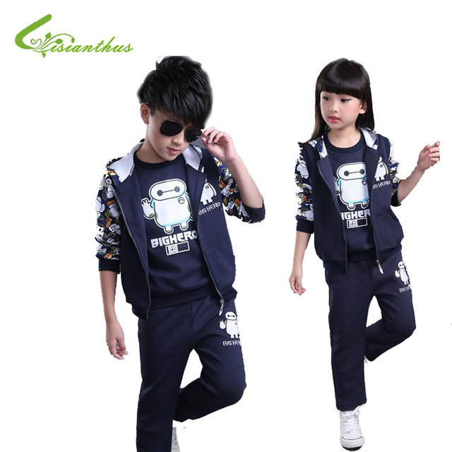 Three Piece of Spring and Autumn Outfit Children's Sport Suits 2016 New Boys and Girls Casual Clothes Zipper Clothes Set Unisex