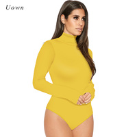 2017 Fashion Long Sleeve High Neck Bodysuits Tops Outfits Women Plain Stretchy Leotard Tops One Piece