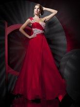 18-29 Hot Red One Shoulder Beadeds Ruffle Long Chiffon Prom Dress ruffle embellished one shoulder dress
