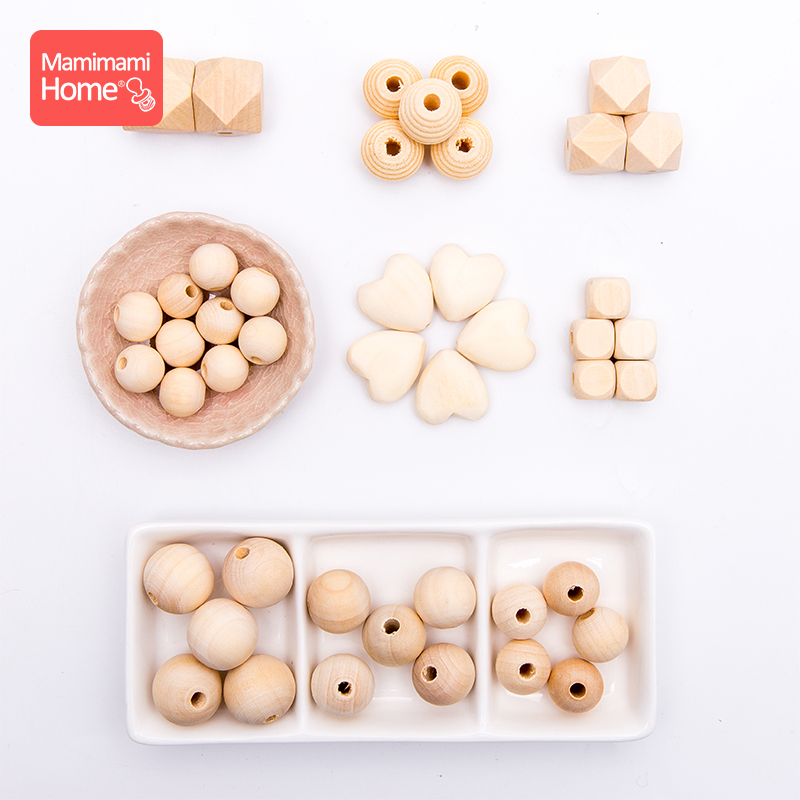 45pc Wood Beads Making Bracelet Pacifier Chain Accessories For Kids Products Wooden Teething DIY Crafts Baby Teether Toys