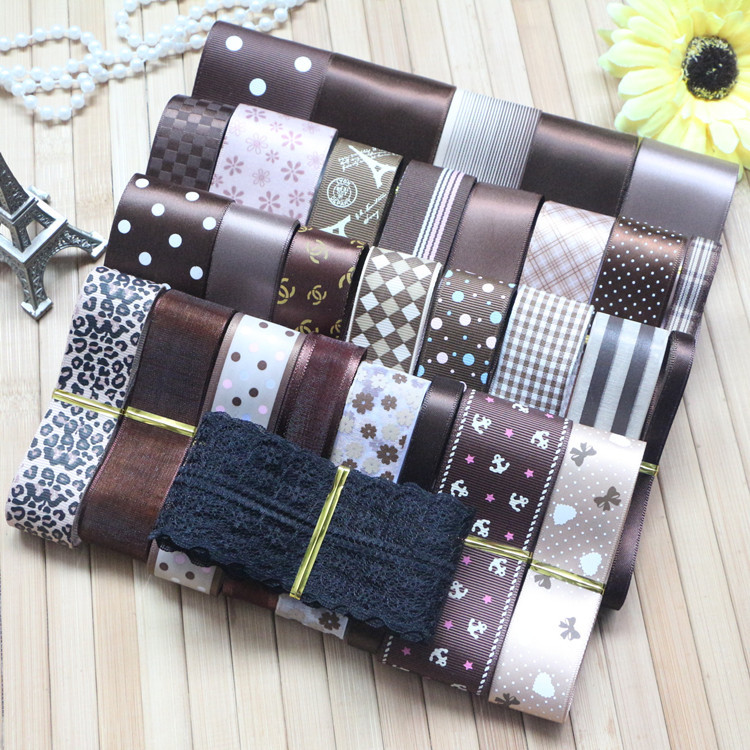 DIY ribbon set---coffee gradual change color mix ribbon set