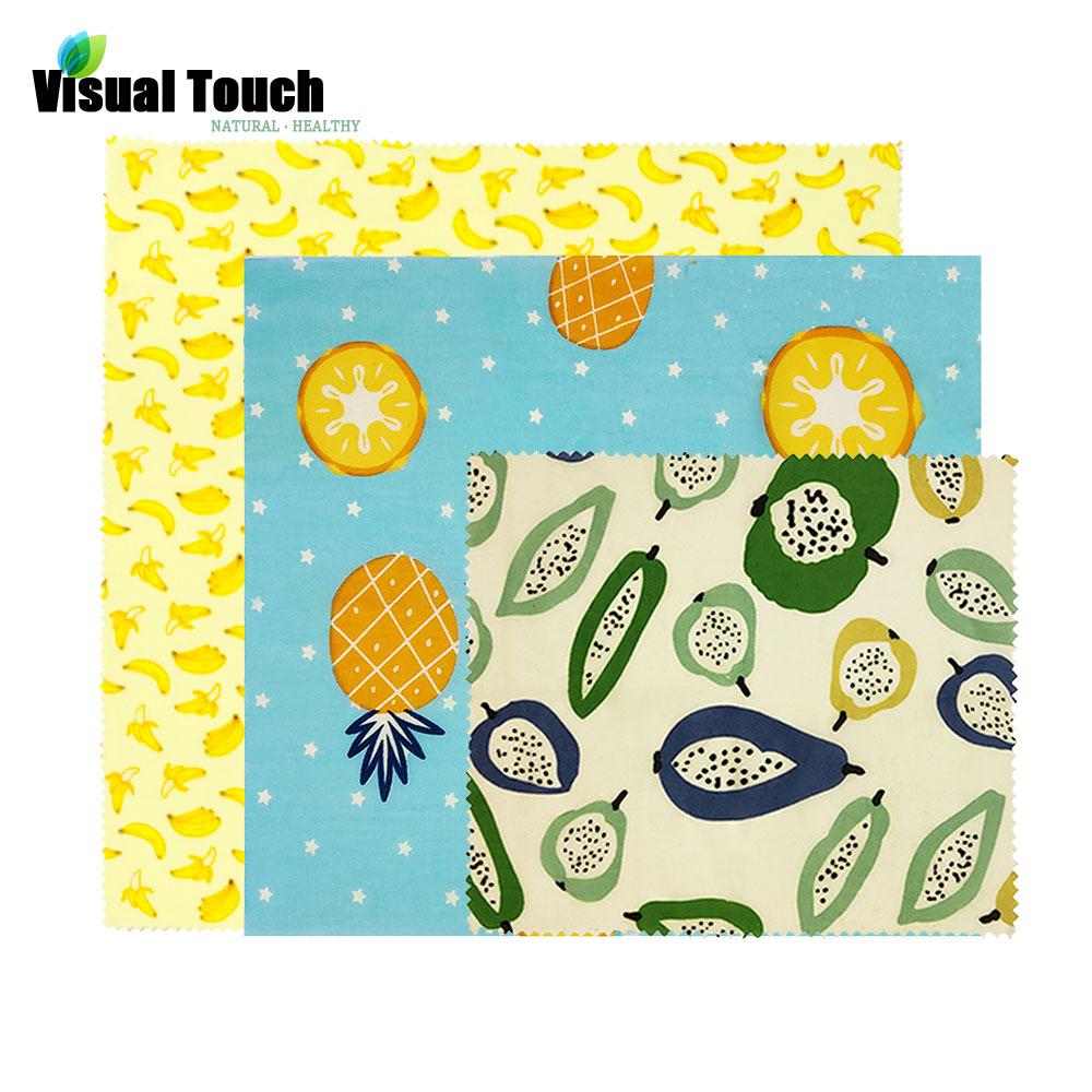 Визуальный сенсорный ладонь органический пчелиный воск ткань сэндвич пакет свежего хранения мешок крышка пищевая пчелиный воск обертывание стрейч уплотнение