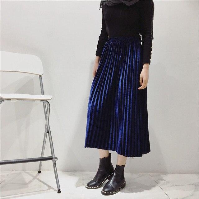H.SA 2017 New Spring Korean Pleated Velvet Skirt  Pleated Long Skirts Women High Waist New Fashion Clothing