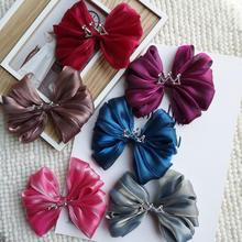 цена на Boutique crown hair bow girls Bowknot Hair clip Kids children high-end kids barrettes gift headwear princess hair accessories