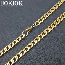 Hip Hop Curb Cuban Link Chain Neckalce For Men/Women Gold Color Stainless Steel Chain Male Rapper Jewelry 2019(China)