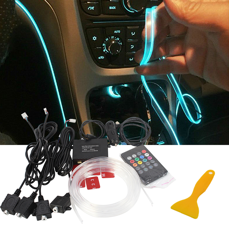 Car set Ambient Light Vehicle Light Guide Interior Atmosphere Light Soft DIY Car Atmosphere Refit Optic Fiber Band Lamp for chrysler pt cruiser 2000 2012 car interior ambient light panel illumination for car inside cool strip light optic fiber band