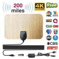 טלוויזיה אנטנה booster מגבר טלוויזיה אנטנה טלוויזיה אנטנה 200 Mile דיגיטלי HD בצבע עץ מקורה עם Booster מגבר אות HD HDTV DVB טלוויזיה בכבלים UHF VHF DTV (1)