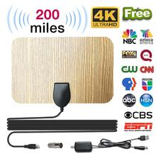 TV Aerial TV Antenna 200 Mile Digital HD Wood Grain Indoor with Amplifier Signal Booster HD HDTV DVB Cable TV UHF VHF DTV newest hd tv antennas ta 105a indoor digital hd tv antenna amplifier uhf vhf 1080p 4k with stand