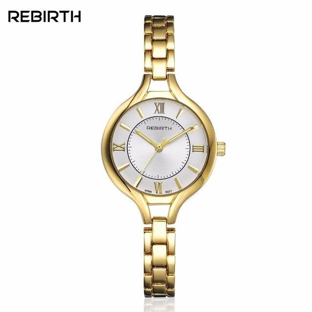 REBIRTH Women Exquisite Bracelet Watch Leisure Fashion Brand Wristwatch Gold Qua