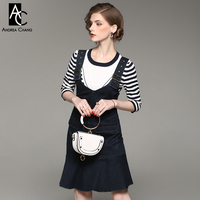 Spring Autumn Woman Dress Set White Blue Strip Pattern Sweater Dark Blue Denim Dress Set 3