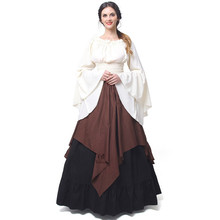 Plus la Taille Automne Mode à manches longues Empire Parti Robe Femmes  Renaissance Médiévale Costumes Robe 2684e9c45