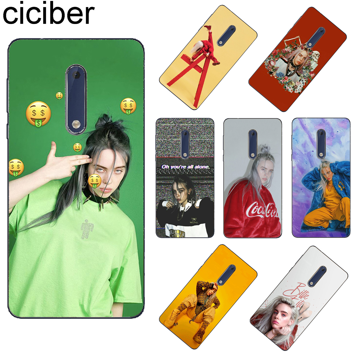 ciciber For Nokia 8 7 7.1 6 6.1 5 5.1 3 3.1 2 2.1 1 Plus Soft TPU Phone Cases X7 X6 X5 X3 Singer Billie Eilish Fundas