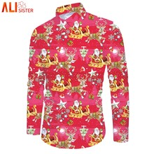 Alisister 3D Mens Christmas Shirts Long Sleeve Autumn Winter Santa Dress Shirt Men Chemise Homme Casual Slim Fit Brand Clothes(China)