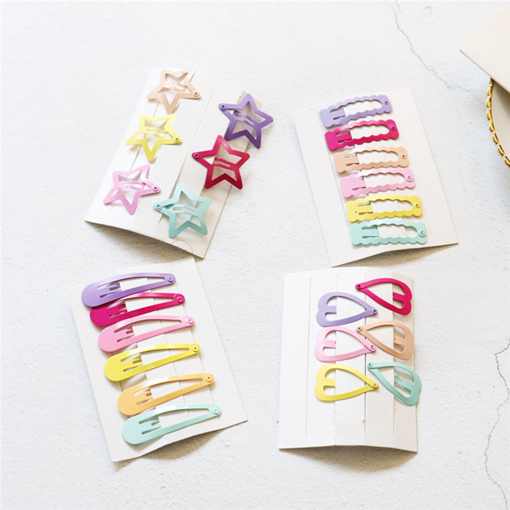 6pcs/Set Cute Printing Candy Color Cartoon Girls' Hair Girl Hairpin BB Snap Hair Clips Hair Care Styling Tools Beauty Tools
