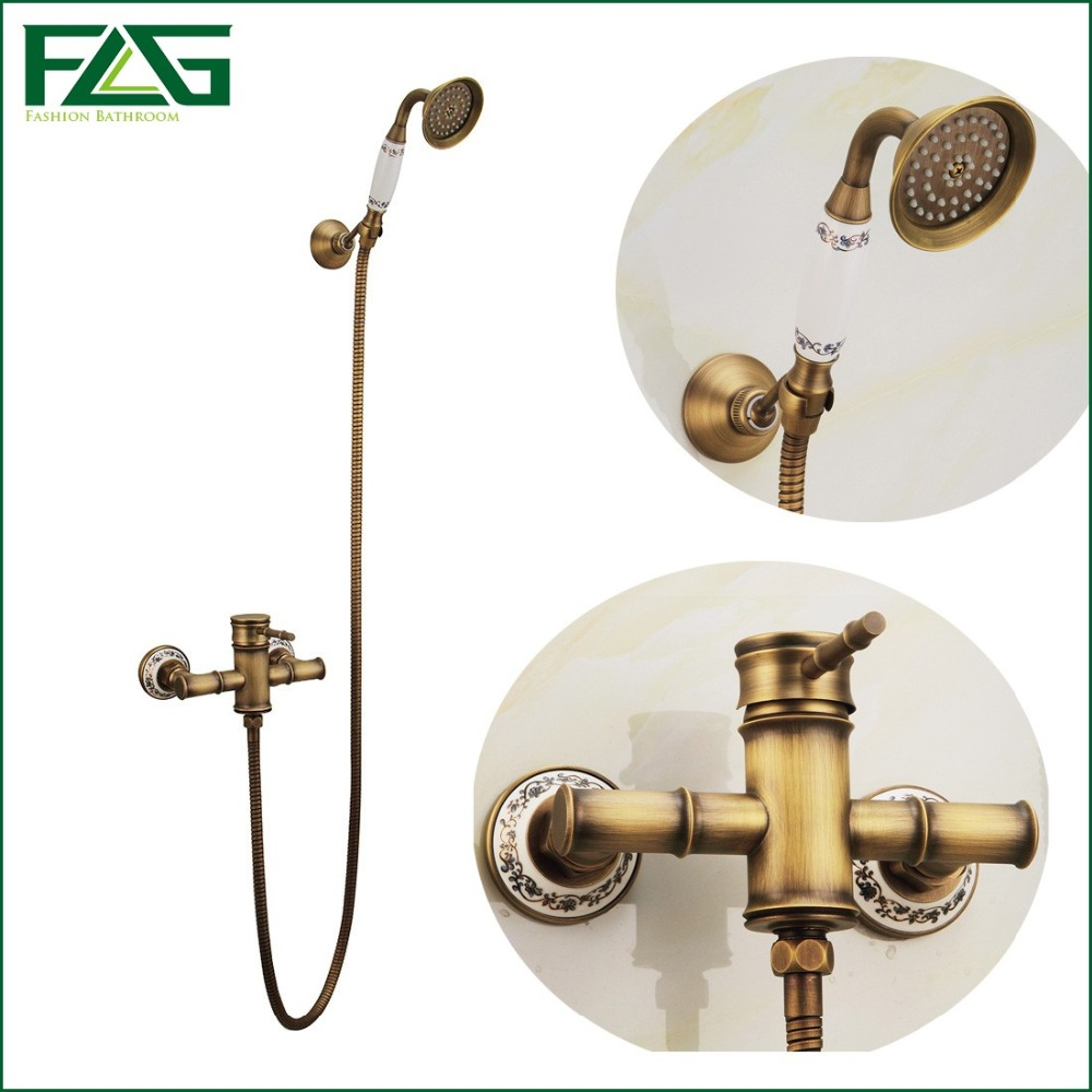 Free Shipping Bamboo Shower Faucet Mixer Tap Bathtub Head With Ceramic Mixer Tap Antique Brass Bathroom Rain Shower Set  HS006 luxury bathroom rain shower faucet set antique brass handheld shower head two ceramics lever bathtub mixer tap ars003