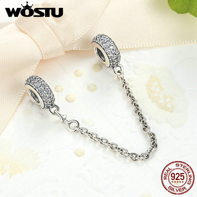 c77562d27 ... discount code for real 925 sterling silver pave inspiration safety  chain charm with clear cz fit