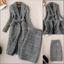 Plaid suit Women Autumn and winter New Plaid woolen suit jacket female Tweed plaid coat suit + skirtl two-piece suit women plaid