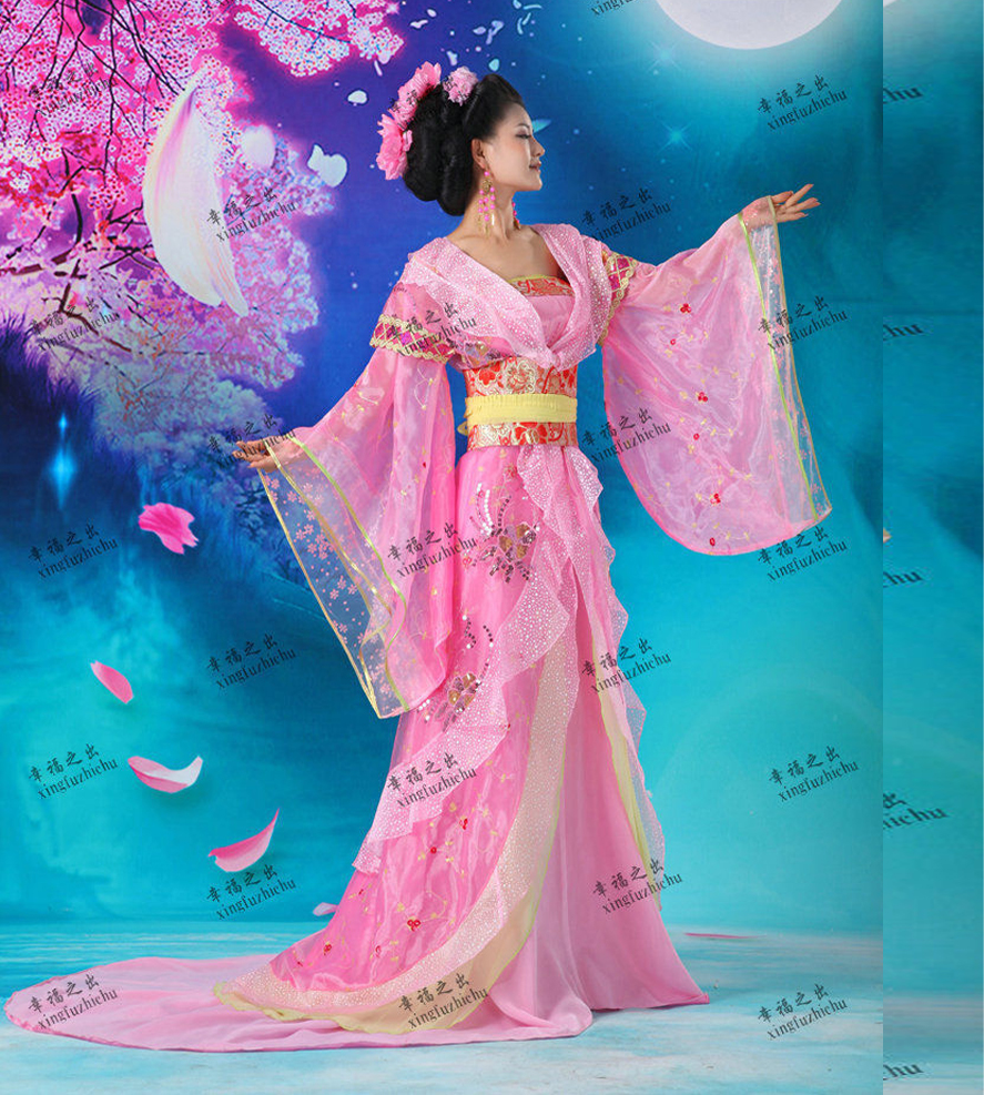Top Grade Pink Chinese Ancient Infanta Peri Big Tail Embroider Flower Dramaturgic Dress Princess Dress Cosplay One Size 081506
