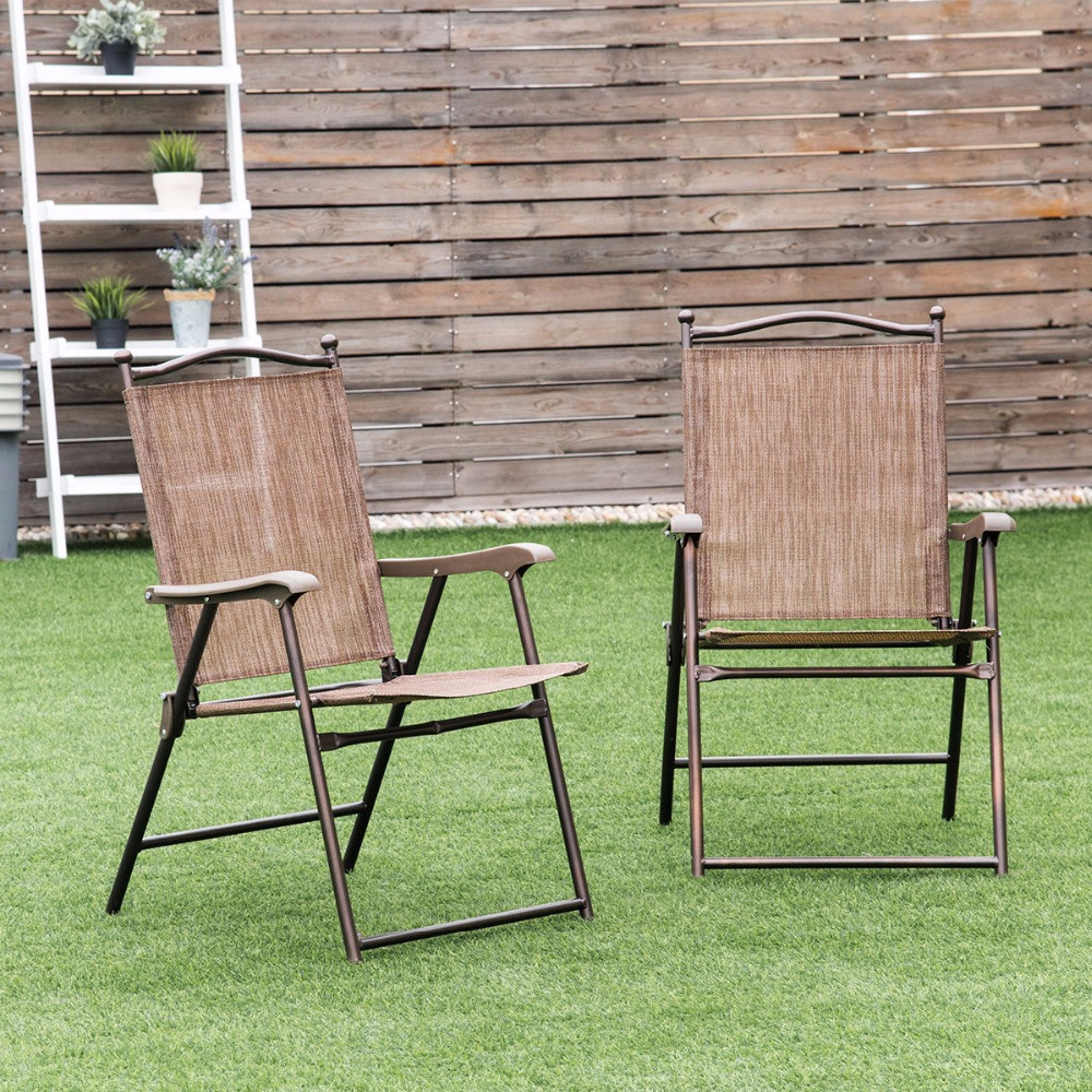 Giantex Set of 2 Patio Folding Sling Back Chairs Camping Deck Garden Beach Outdoor Furniture OP3568 image