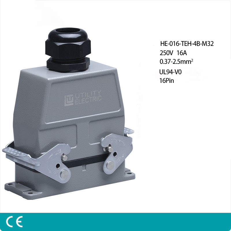 цена на Heavy Duty Connectors HE-16/24 16pin 16A 250V 10 pin Single side outlet Industrial Rectangular Aviation Connector Plug