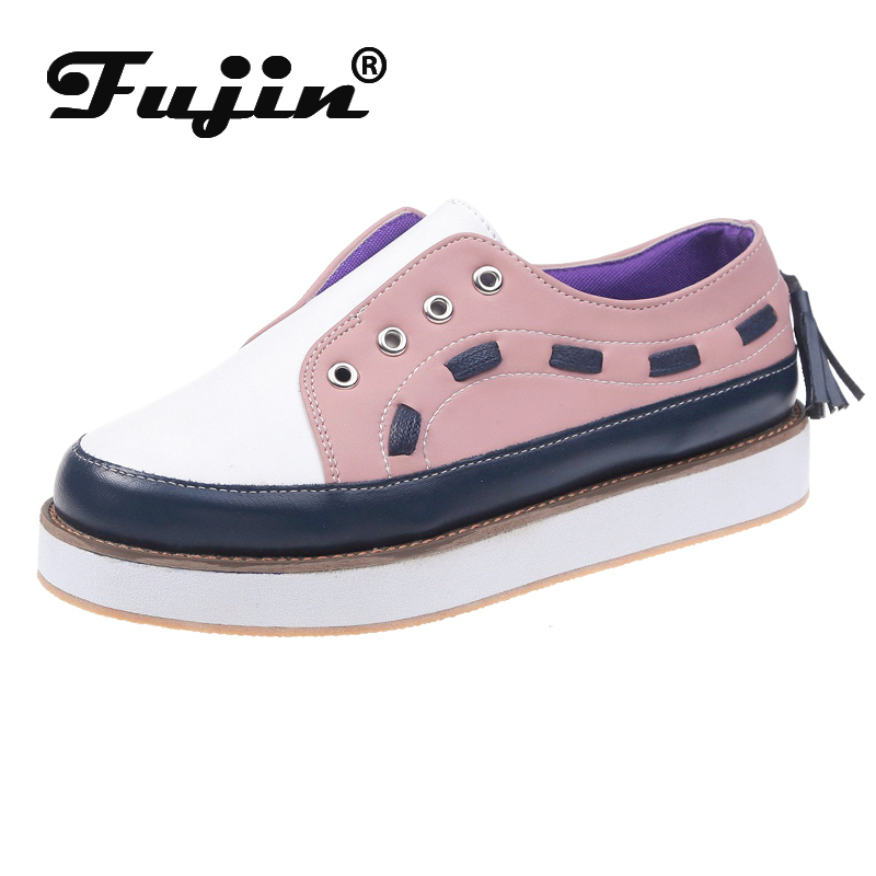 Fujin Loafers Women Shoes Flats Slip-On Thick-Bottom Autumn Fashion New Causal Peadal