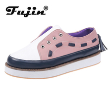 Fujin Loafers Women Flat Shoes Thick Bottom Women Low Top Fashion Shoes Slip on Lazy Shoes Causal Peadal Shoes Autumn New Flats new fashion elevator height increasing casual shoes women slip on lazy korean thick bottom breathable mesh loafers zapatos mujer
