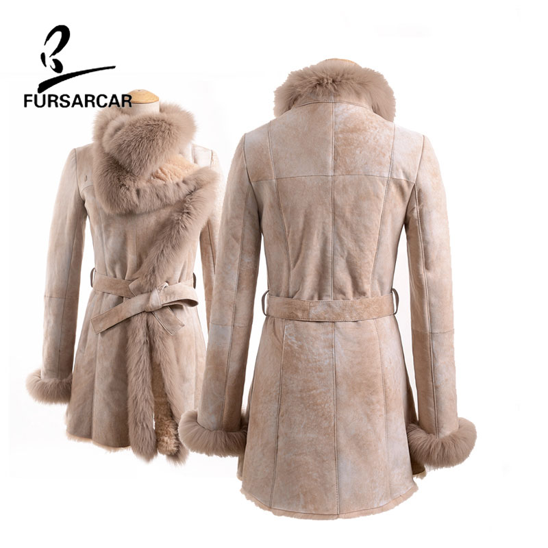 FURSARCAR 2017 New Wool Fur Sheepskin Coats Women Winter Warm Genuine Leather Wool Skin Fox Fur For Female Slim Sheepskin Coats
