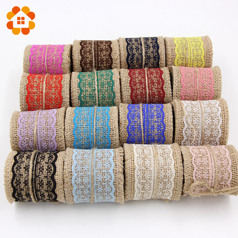2M DIY Cotton Lace Ribbon Sewing Tape Natural Jute Hessian Roll Burlap Trims Tape Rustic Wedding Party Decor Craft