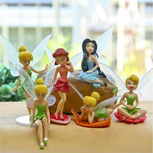 6 Pcs/lot Resin Crafts Anime Figure Moss Micro Landscape Ornaments Flower Fairy DIY Assembly Gift Toy Figures(China)