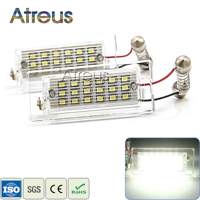 Atreus Car LED License Plate Lights12V For BMW X5 E53 X3 E83 Accessories 2X White SMD3528 LED Number Plate Lamp Canbus Bulb Kit 2x car led license plate lights 12v smd3528 led number plate lamp bulb kit for toyota crown s180 corolla vios previa accessories