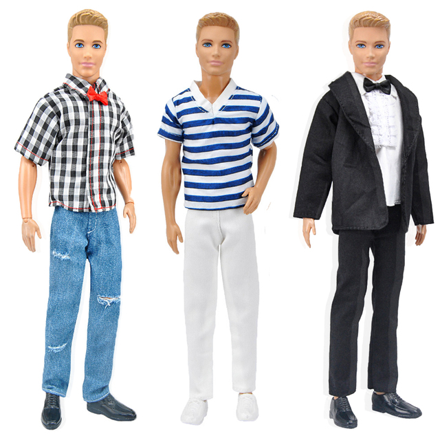 E-TING 1/6 Ken Fashion Doll Clothes 3 Sets Boys Suit Casual Wear Plaid T-shirt Pants Prince Outfits For Barbie Toys Accessories