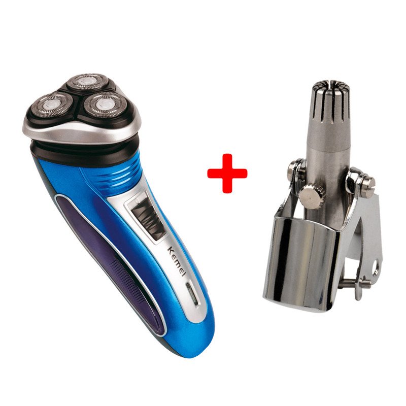 Men Washable Rechargeable Electric Shaver Razor+ Electric Shaving Nose Hair Trimmer Men Hair Removal Machine Shaving Tools the new high quality razors man shaving machine 4 d waterproof rechargeable electric shaver crime three head hair removal device