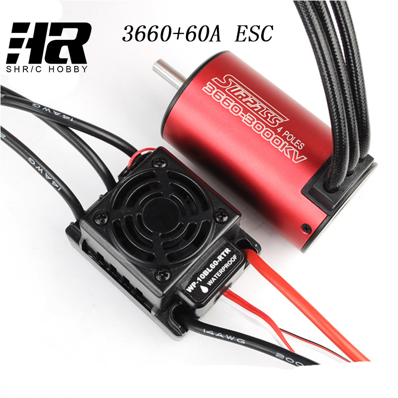 RC car 1:10 3660motor upgrade waterproof 3660 3650 3800KV brushless motor with 60A waterproof ESC Combo Set