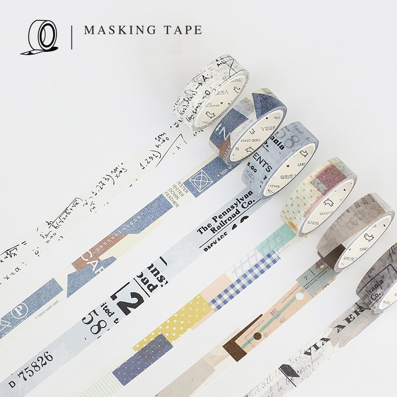 6 pcs Vintage pattern paper washi tape Decorative masking tapes for diary book album sticker Stationery School supplies F792 8 pcs lot funny sticker cute bear penguin cat decorative adhesive for diary letter scrapbook school supplies stationery