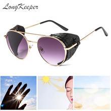 New Retro Leather Shield Sunglasses Men Women Steampunk Meta