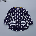 V-TREE Girls Cotton Dresses Baby Girl Cartoon Rabit Full Sleeve Dress Children Casual T Shirts Toddler Kids Cute Striped T-Shirt