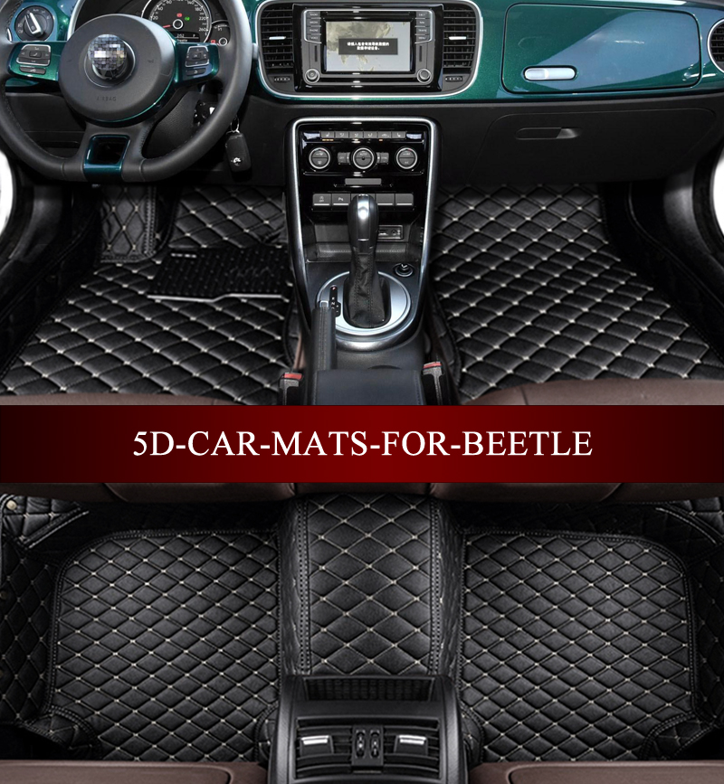 Leather car mats for Volkswagen Beetle hatchback convertible R line Hybrid custom fit all weather carpet floor foot mats