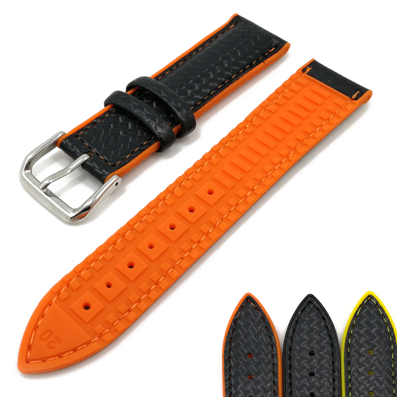MJeess Generic Watchband Silicone + Leather Watch Strap Bands Waterproof 18mm 20mm 22mm Watches Belt Bracelet