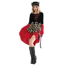 Adult Womens Cruel Caribbean Seas Captain Pirate Costumes Halloween Purim Carnival New Year Masquerade Fancy Party Dress