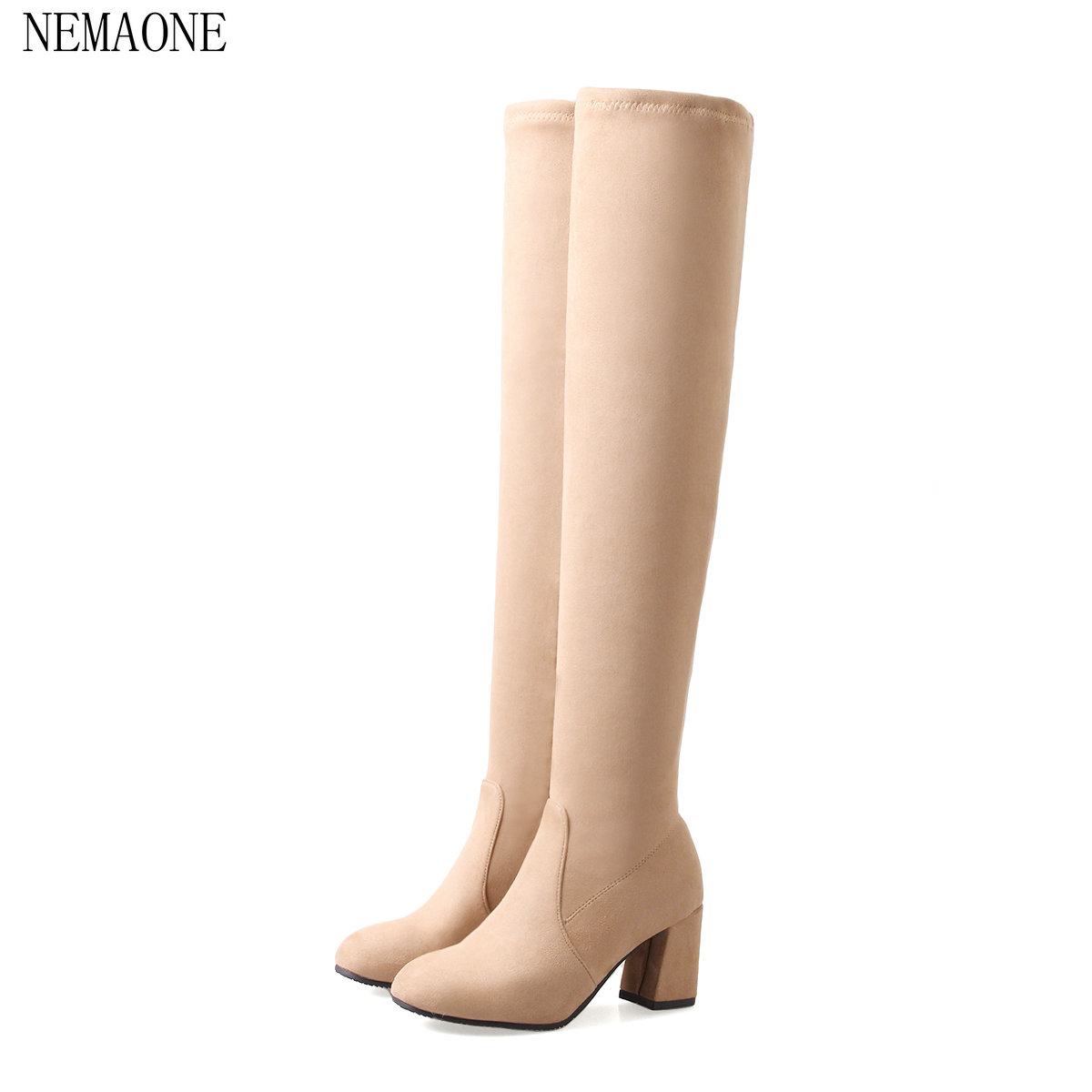 NEMAONE Woman Over The Knee Boots Stretch Shoes Fashion Side Zipper Square High Heel Dress Thigh Boots Black avvvxbw 2016 new brand long boots fashion elastic over the knee boots shoes woman square heel genuine leather thigh high boots