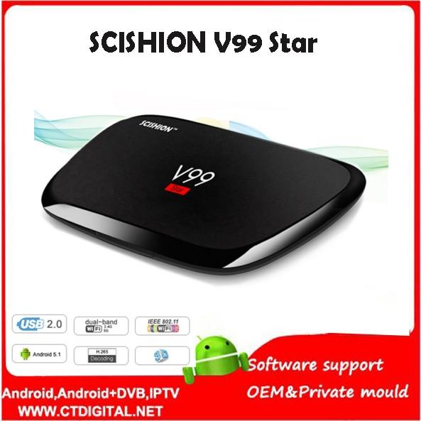 SCISHION V99 Star 10pcs 2g 16g Smart TV Box Rockchip 3368 1.5GHz Octa Core Android 5.1 Bluetooth 4.0 Set Top Box PK X92
