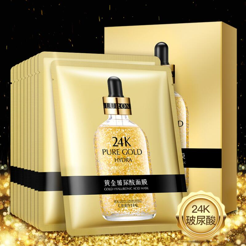 24K Gold Facial Mask Hyaluronic Acid Mask Moisturizing Hydrating Anti-Aging