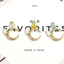 10pcs Drop Oil Crown Wing  Moon Charms Bracelet DIY Gold Tone Metal Enamel Charm Pendant Earring Hair Jewelry Accessories YZ018